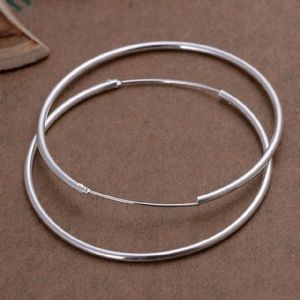 "2"" Smooth SSPlated Endless Hoop Earrings"